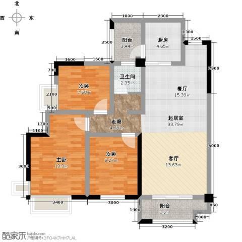 华盛・世纪新城3室0厅1卫1厨114.00㎡户型图