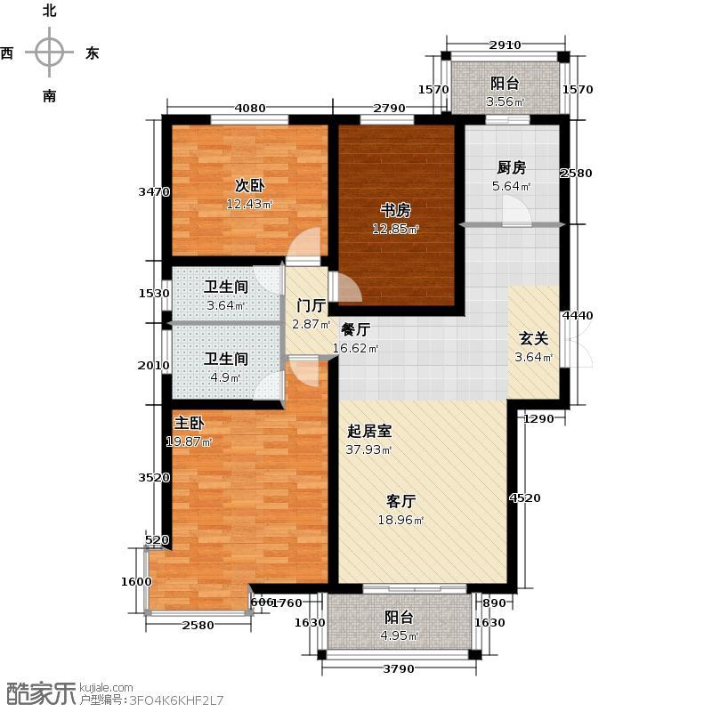 北京城建和平时光138.28㎡L1户型 三室二厅二卫户型3室2厅2卫