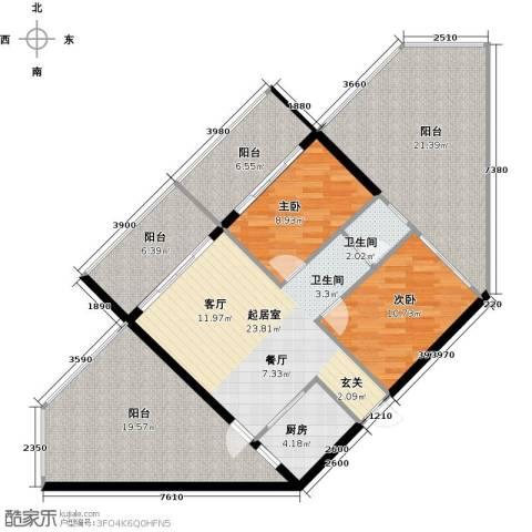 新贵华城三期2室0厅1卫1厨103.57㎡户型图