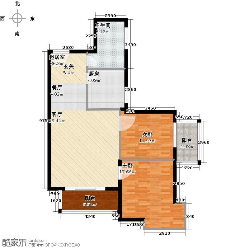 北京城建和平时光户型2室1卫1厨