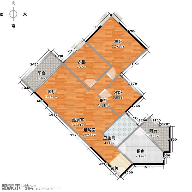 尚东峰景C栋04户型3室1卫1厨