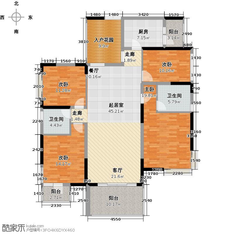 深房传麒山156.00㎡8-10栋B单元4C型户型4室2厅2卫