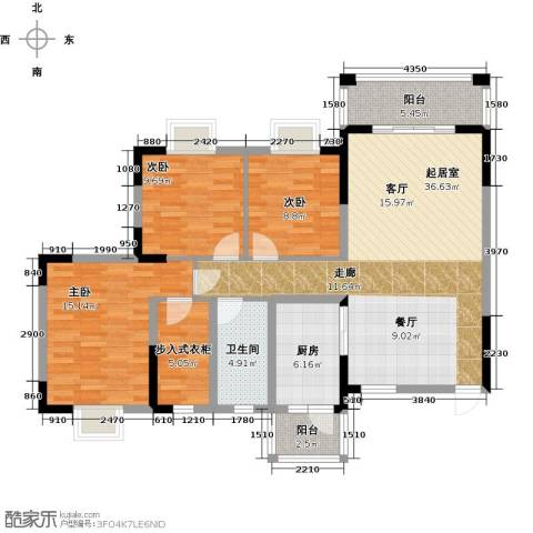 广大上城3室0厅1卫1厨124.00㎡户型图