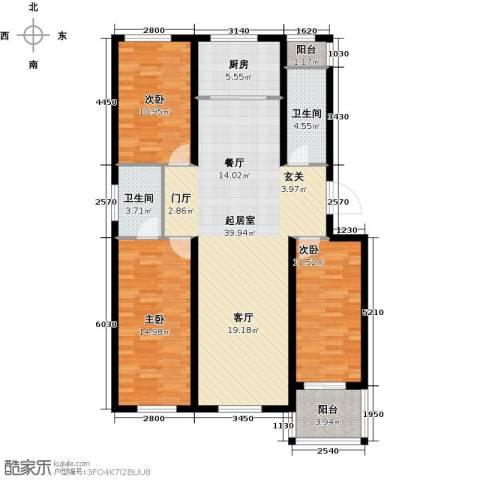 建新御景园3室0厅2卫1厨110.00㎡户型图