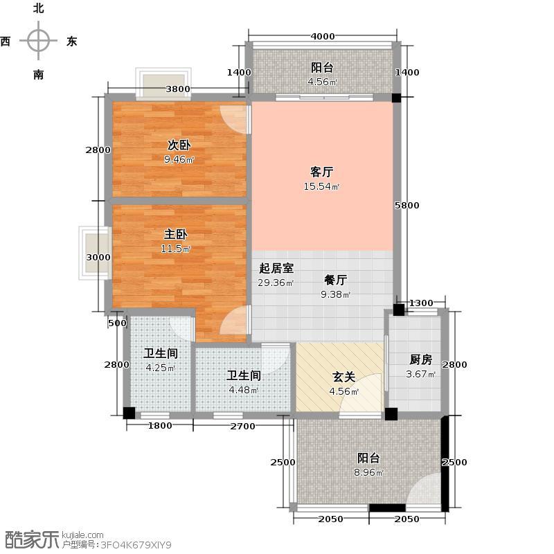 澳景蓝庭05、10单位户型2室2卫1厨