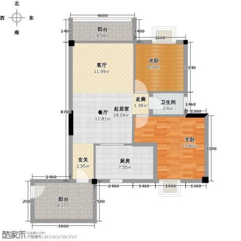 澳景蓝庭2室0厅1卫1厨91.00㎡户型图