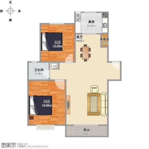 恒通花园2室1厅1卫1厨106.00㎡户型图