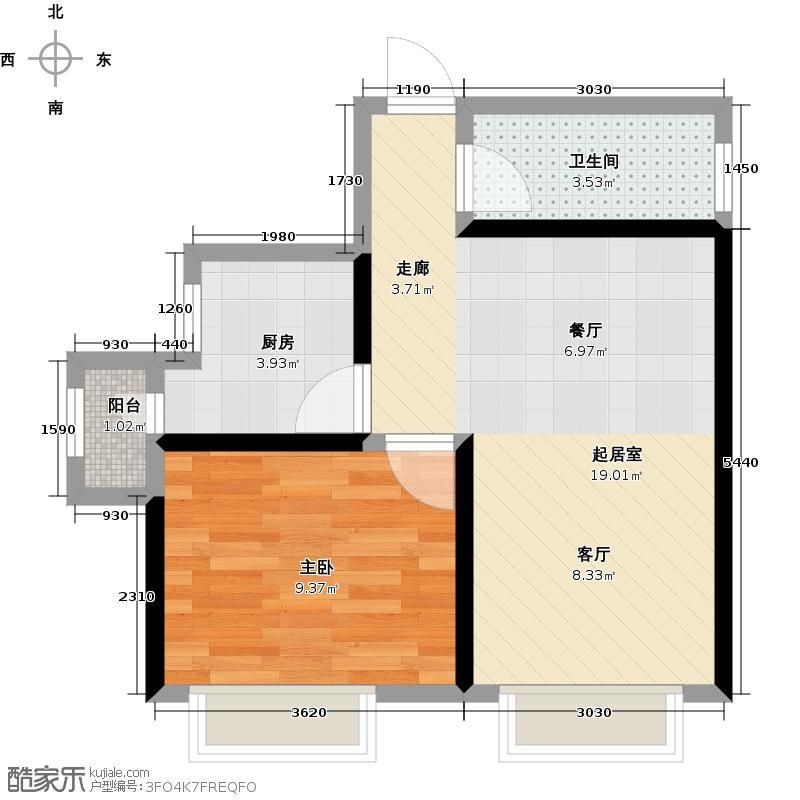 华城领秀三期67.96㎡华城领秀Q3户型1室2厅1卫户型