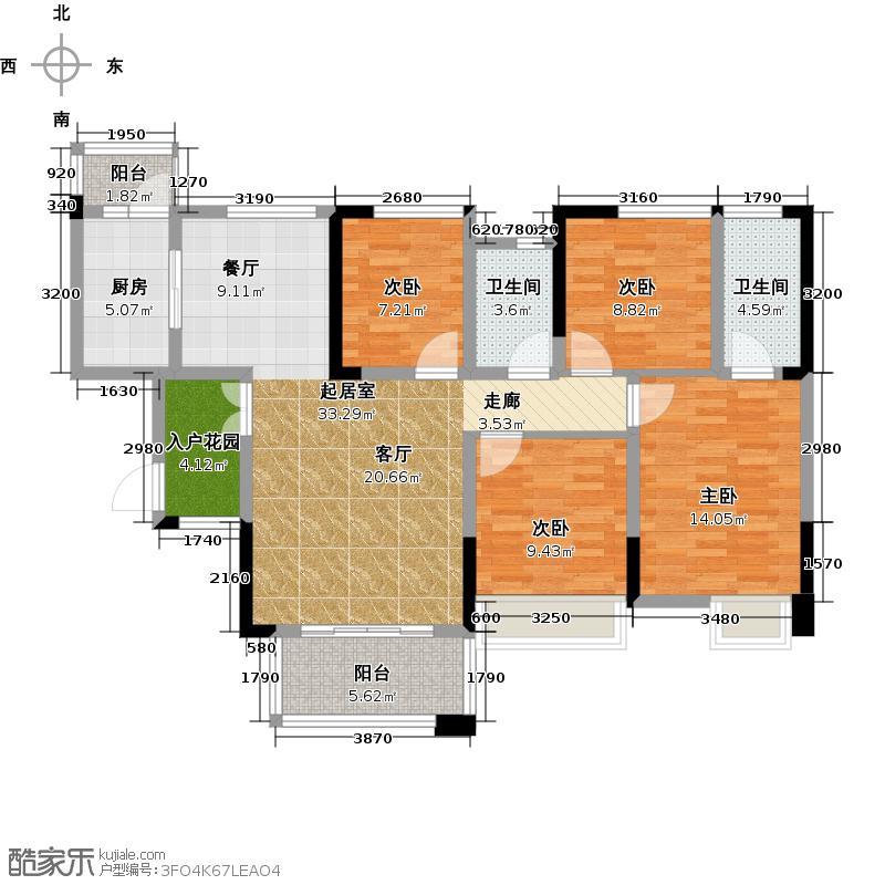 锦汇城128.00㎡高层A2户型 4室2厅2卫 赠送14㎡户型4室2厅2卫