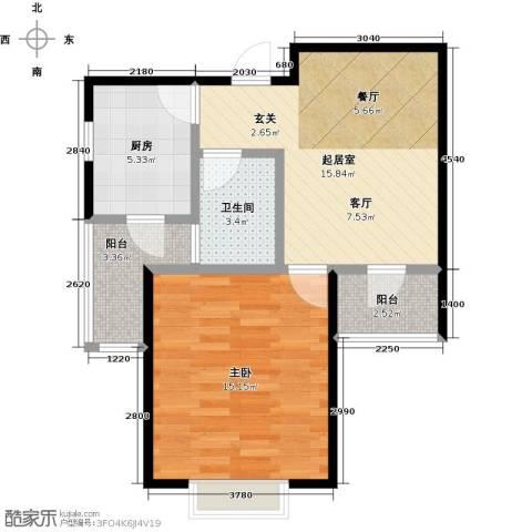 华城领秀三期1室0厅1卫1厨64.00㎡户型图
