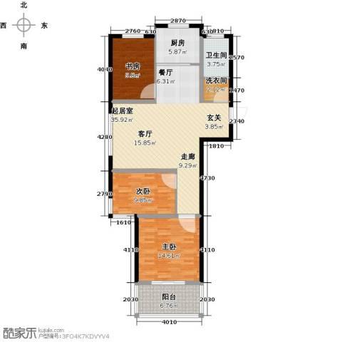 万泰香河佳园3室0厅1卫1厨100.00㎡户型图