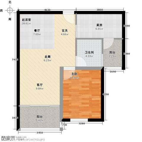 万泰香河佳园1室0厅1卫1厨68.00㎡户型图
