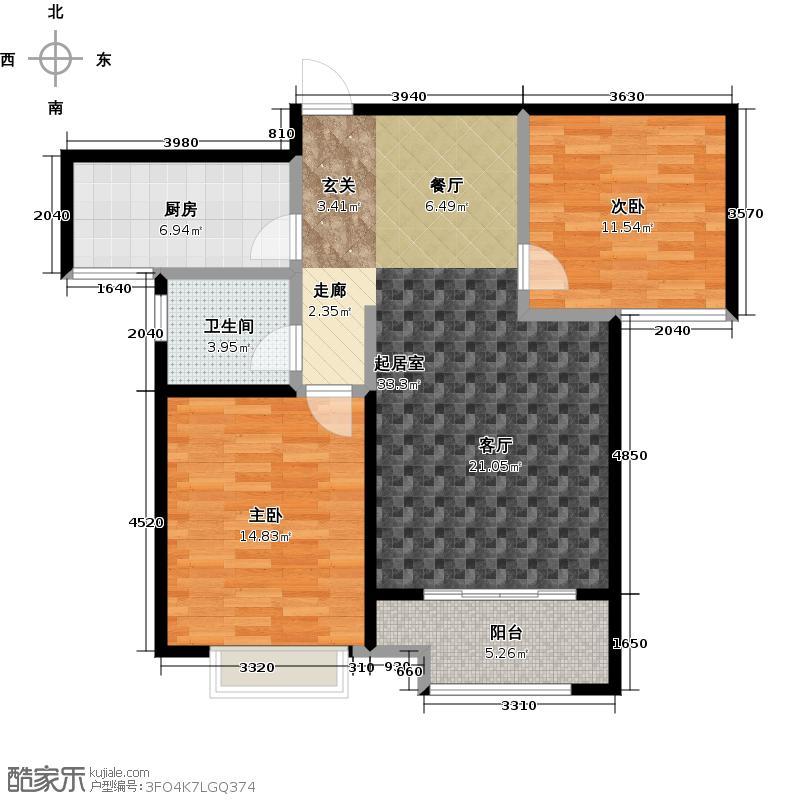 重汽翡翠外滩90.00㎡A户型 两室两厅一卫户型2室2厅1卫