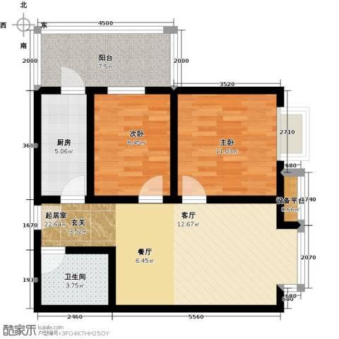 海�・新天地2室0厅1卫1厨87.00㎡户型图
