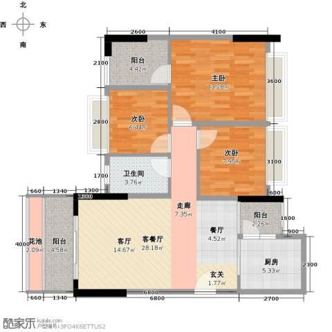 景湖时代城3室1厅1卫1厨111.00㎡户型图