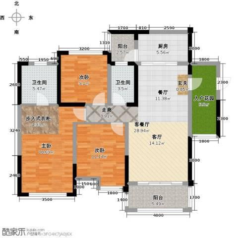天香3室1厅2卫1厨110.00㎡户型图