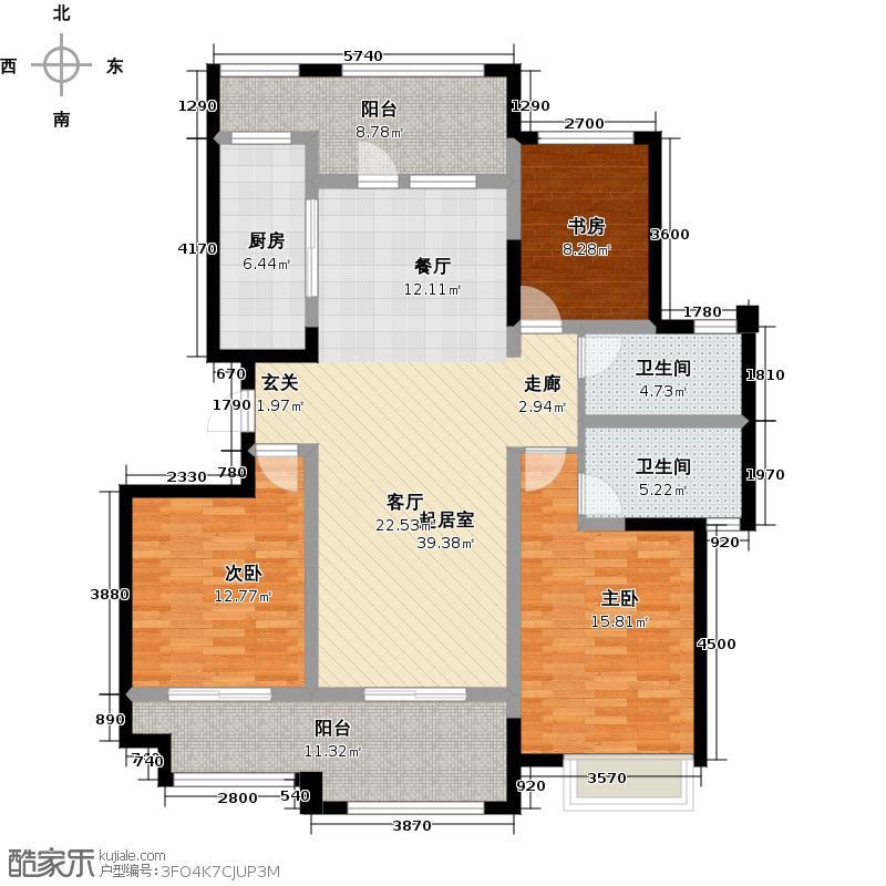 雅居乐悠wo公园130.00㎡130平米三房二厅二卫户型3室2厅2卫