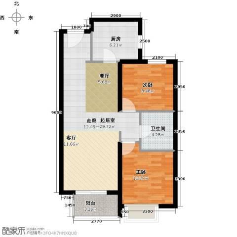 万达广场2室0厅1卫1厨88.00㎡户型图