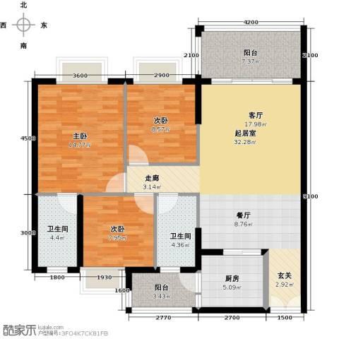 胜球阳光花园三期3室0厅2卫1厨111.00㎡户型图