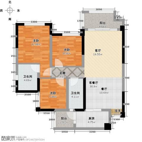天香3室1厅2卫1厨96.00㎡户型图