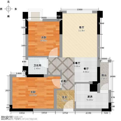 合能璞丽2室1厅1卫1厨64.00㎡户型图
