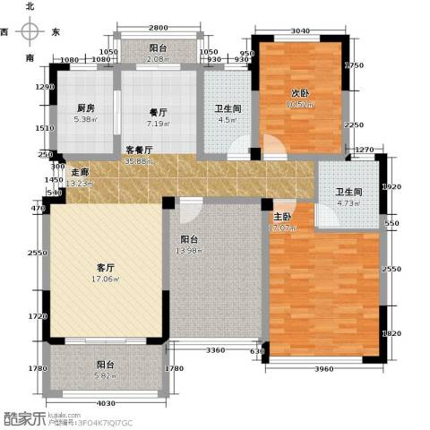 中城建世界名城2室1厅2卫1厨144.00㎡户型图