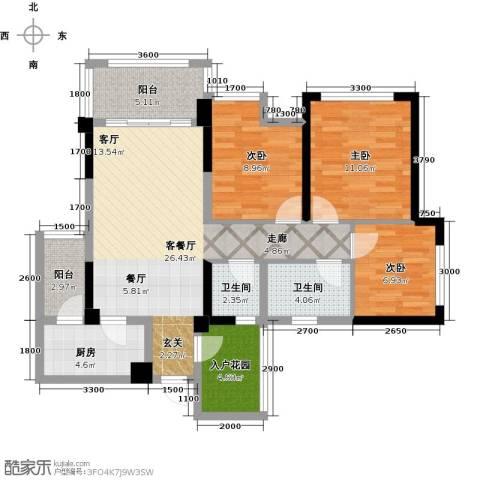 天香3室1厅2卫1厨86.00㎡户型图