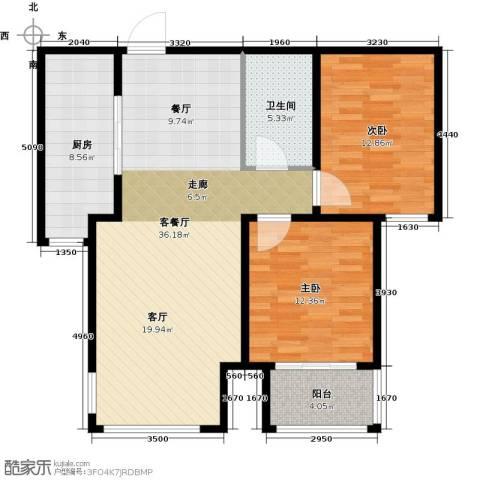 贵都花园综合体2室1厅1卫1厨110.00㎡户型图