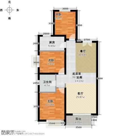 万达广场3室0厅1卫1厨119.00㎡户型图