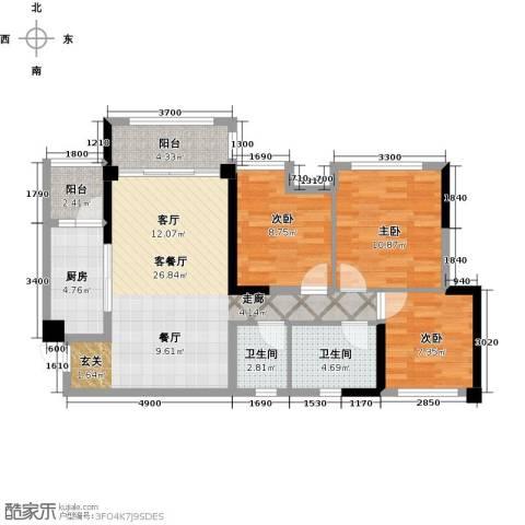 天香3室1厅2卫1厨82.00㎡户型图