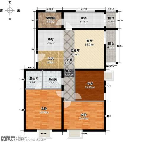 天赐康缘新区3室1厅2卫1厨131.00㎡户型图