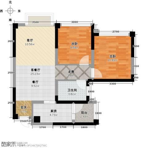 天香2室1厅1卫1厨74.00㎡户型图