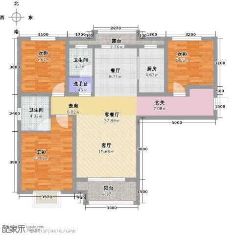 鹿城一号3室1厅2卫1厨119.00㎡户型图