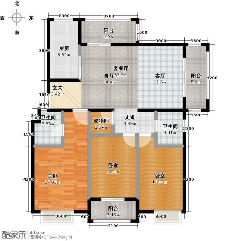恒尊春天里119.18㎡E1户型 三房二厅二卫户型3室2厅2卫