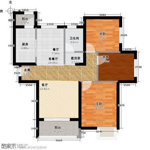 郑西鑫苑名家3室1厅1卫1厨99.00㎡户型图