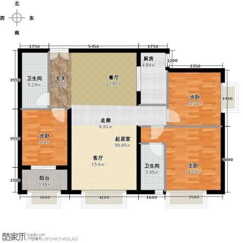 万达广场3室0厅2卫1厨127.00㎡户型图