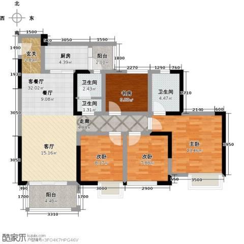 仁美大源印象4室1厅3卫1厨117.00㎡户型图