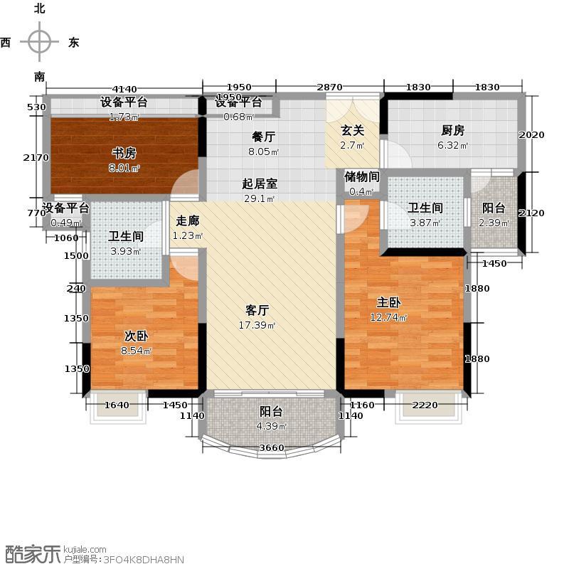 长安锦绣城户型3室2卫1厨