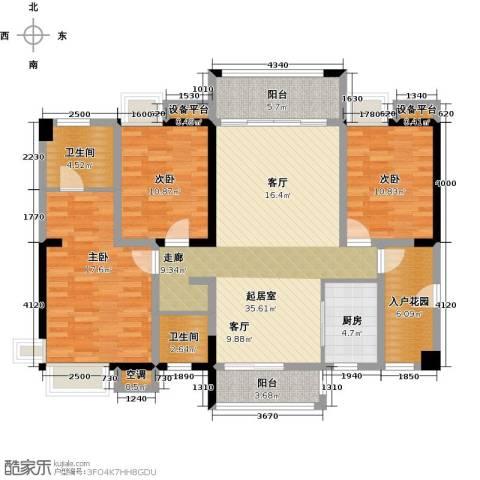 华盛・世纪新城3室0厅2卫1厨151.00㎡户型图