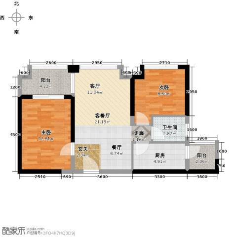 中铁城锦南汇2室1厅1卫1厨72.00㎡户型图