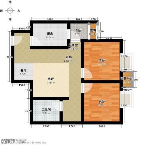 海�・新天地2室0厅1卫1厨78.00㎡户型图