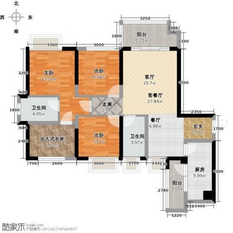 中铁城锦南汇3室1厅2卫1厨105.00㎡户型图