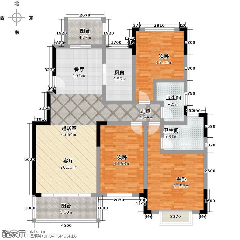 凯易琪园142.32㎡1-E户型3室2厅2卫