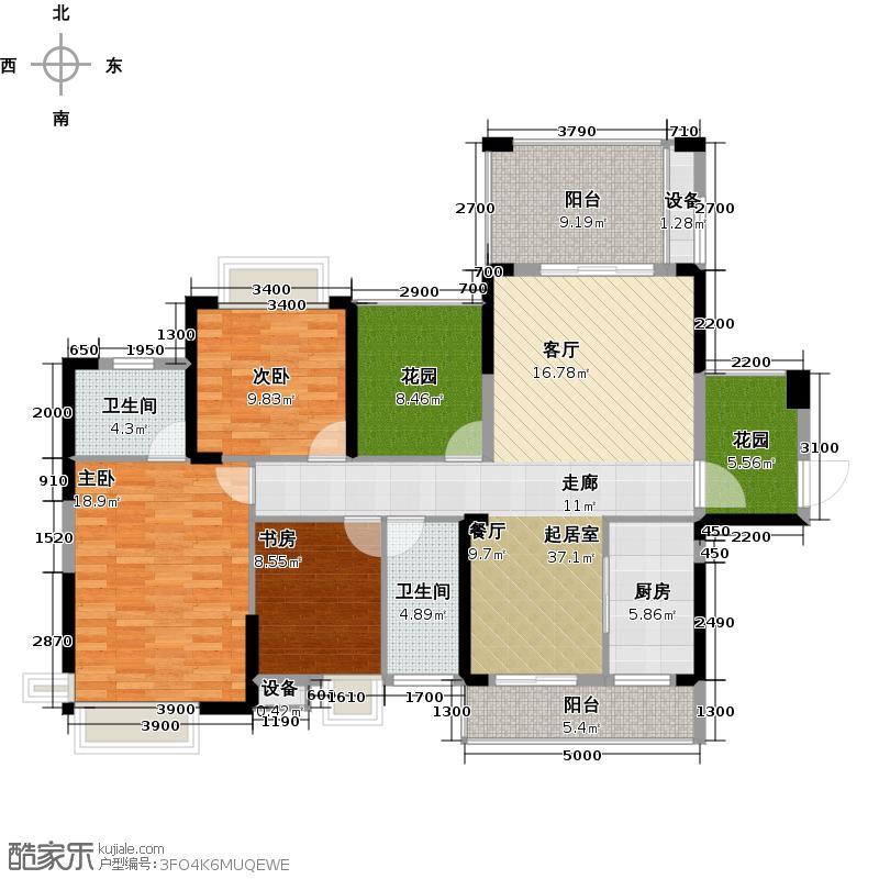 梅岭一号135.71㎡B户型3室2厅2卫