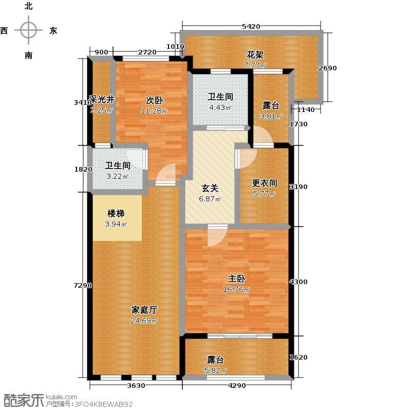 华宇城B型上叠别墅16号楼1号房四层户型2室2卫