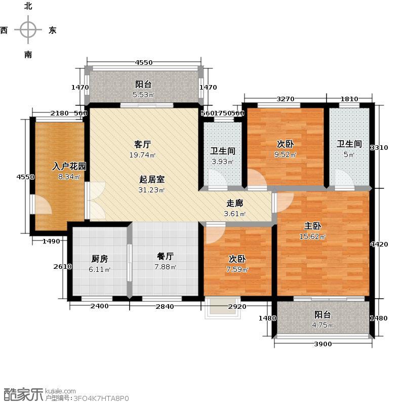 长庆坊玺岸123.84㎡D户型三室两厅两卫户型3室2厅2卫