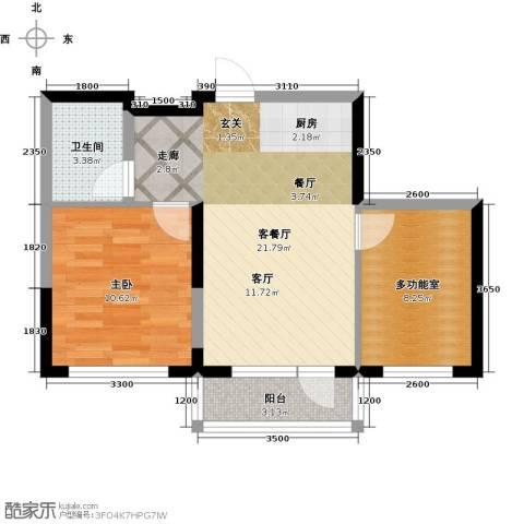 营口万科海港城1室1厅1卫0厨66.00㎡户型图