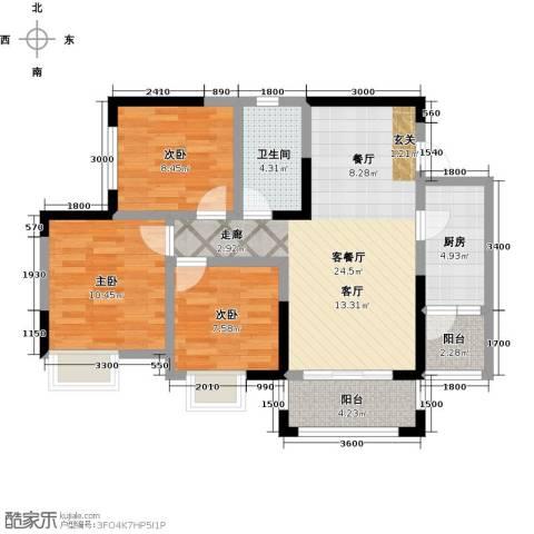 仁美大源印象3室1厅1卫1厨89.00㎡户型图