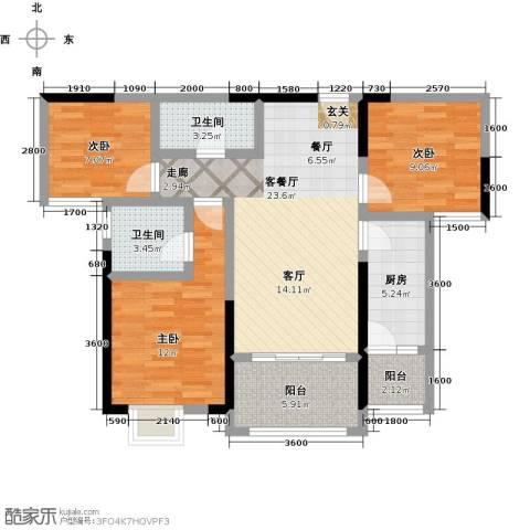 仁美大源印象3室1厅2卫1厨97.00㎡户型图
