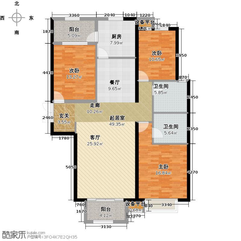济宁太白路万达广场户型3室2卫1厨